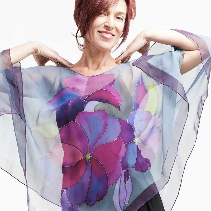 silk painted organza silk scarf natasha foucault