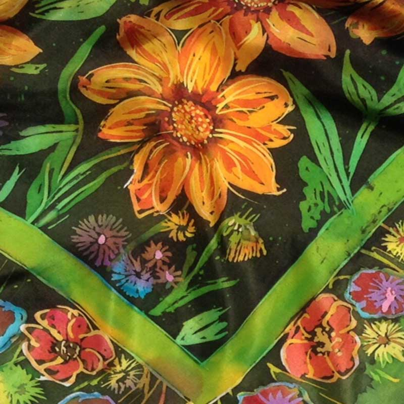 batik workshop wirh rosi robinson silk scarf with batik resist and brush dye effect