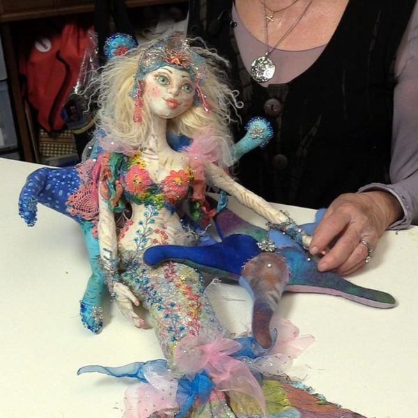 Image of Cloth Doll Mermaid and Starfish Pin cushion — from Cloth Doll Mermaids featuring Patti Medaris Culea