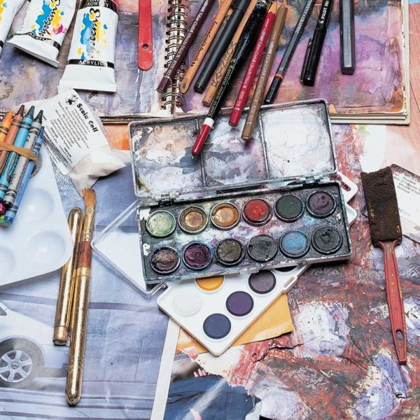 "Watercolors, crayons, brushes and other art tools - from ""Interpretations: Look, Record, Draw"" featuring Jan Beaney & Jean Littlejohn"