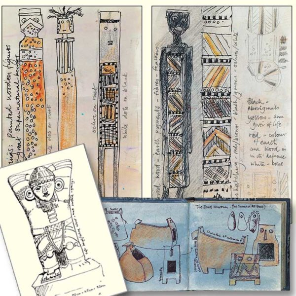 "Sketchbook Image of Mayan / Aztec Totems from ""Interpretations: Look, Record, Draw"" featuring Jan Beaney & Jean Littlejohn"