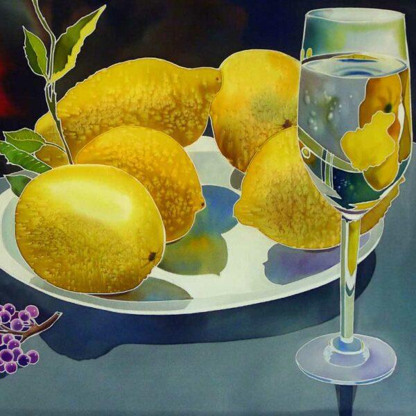Lemoncello -- Image of lemoncello and plate of fresh lemons, Italy, Silk Painting with Gutta Resist by Natasha Foucault