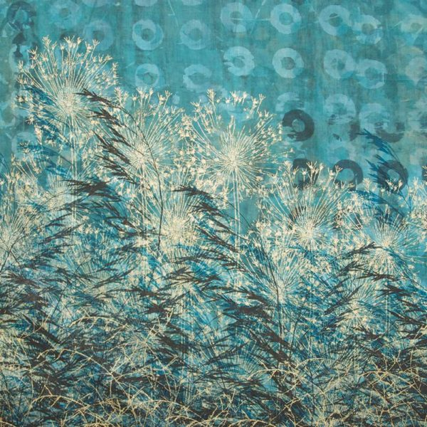 tall grasses - thermofax resist dye on cotton fabrics