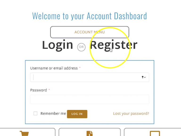 image of Register page on My accounts